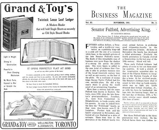 Article Preview: Senator Fulford, Advertising King., November 1905 | Maclean's