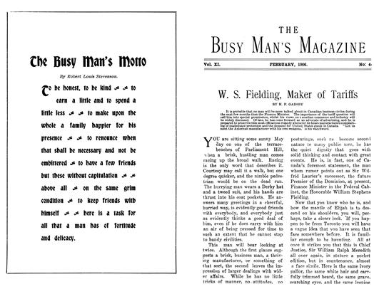 Article Preview: W. S. Fielding, Maker of Tariffs, February 1906 | Maclean's