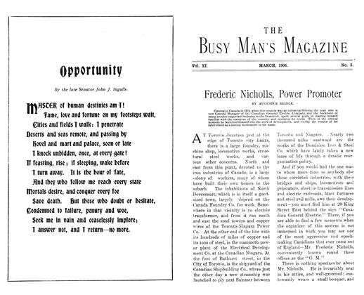 Article Preview: Frederic Nicholls, Power Promoter, March 1906 | Maclean's
