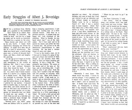 Article Preview: Early Struggles of Albert J. Beveridge, October 1906 | Maclean's