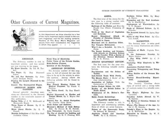 Article Preview: Other Contents of Current Magazines., February 1907 | Maclean's
