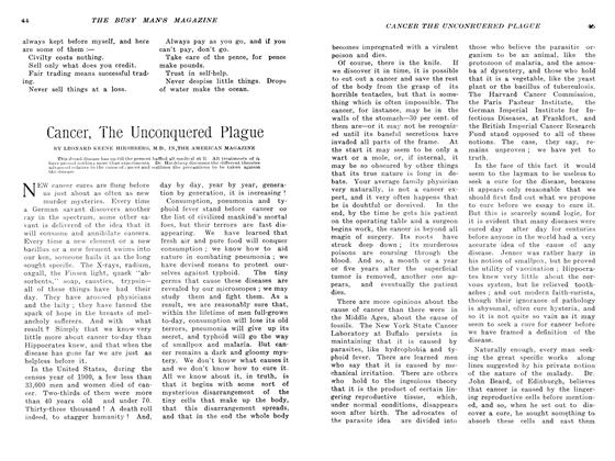 Article Preview: Cancer, The Unconquered Plague, March 1907 | Maclean's