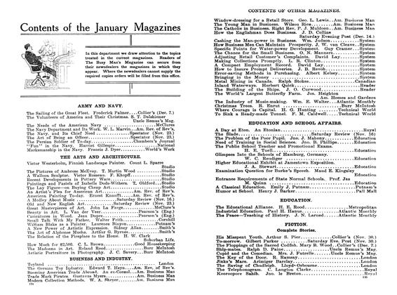 Article Preview: Contents of the January Magazines, January 1908 | Maclean's
