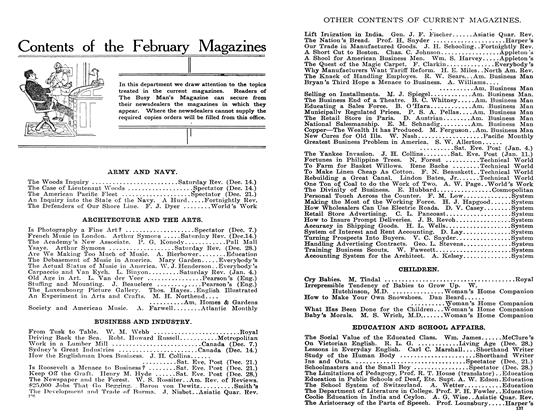 Article Preview: Contents of the February Magazines, February 1908 | Maclean's