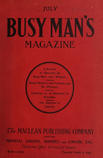 Issue: - July 1908 | Maclean's