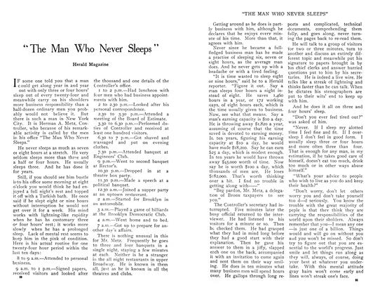 "Article Preview: ""The Man Who Never Sleeps"", April 1909 
