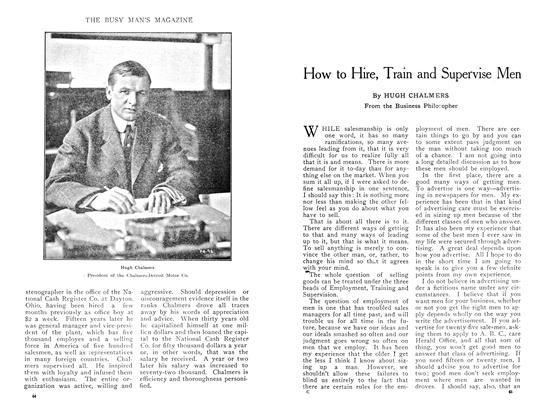 Article Preview: How to Hire, Train and Supervise Men, April 1909 | Maclean's