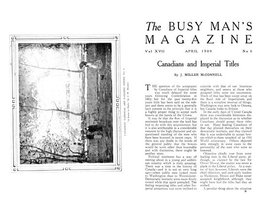 Article Preview: Canadians and Imperial Titles, April 1909 | Maclean's