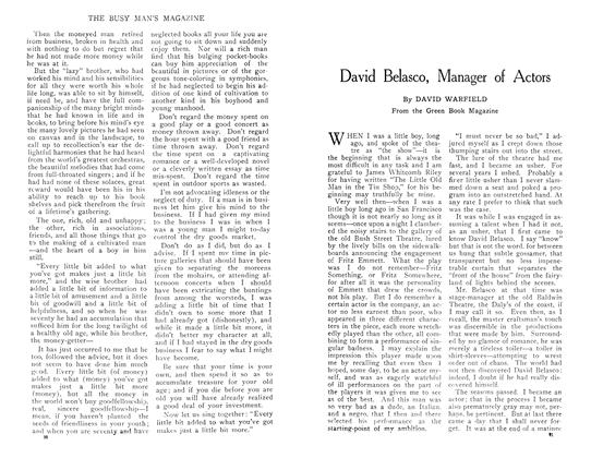 Article Preview: David Belasco, Manager of Actors, April 1909 | Maclean's
