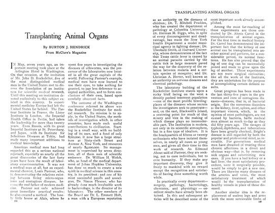 Article Preview: Transplanting Animal Organs, April 1909 | Maclean's