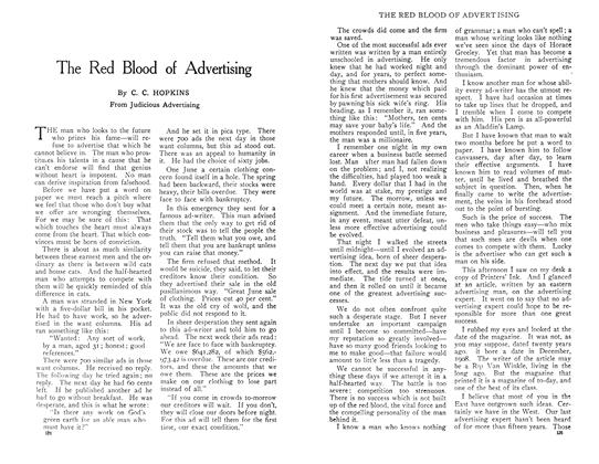 Article Preview: The Red Blood of Advertising, April 1909 | Maclean's