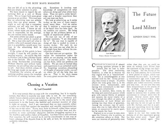 Article Preview: The Future of Lord Milner, April 1909 | Maclean's