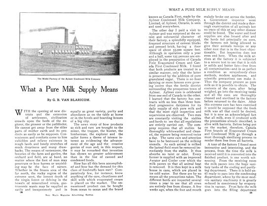 Article Preview: What a Pure Milk Supply Means, April 1909 | Maclean's