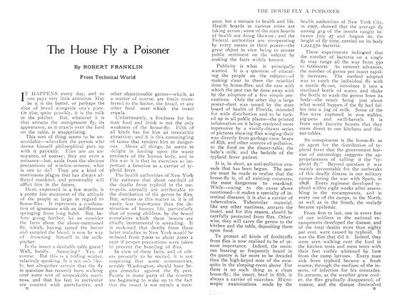 Article Preview: The House Fly a Poisoner, August 1909 | Maclean's