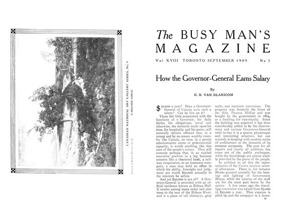 Article Preview: How the Governor-General Earns Salary, September 1909 | Maclean's