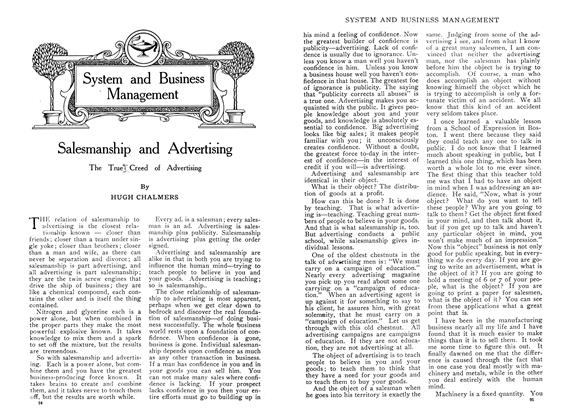 Article Preview: Salesmanship and Advertising, December 1909 | Maclean's
