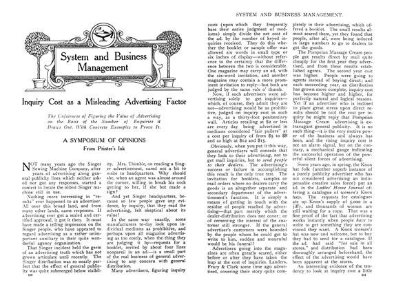 Article Preview: Inquiry Cost as a Misleading Advertising Factor, February 1910 | Maclean's