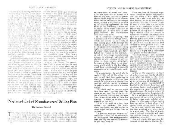 Article Preview: Neglected End of Manufacturers Selling Plan, April 1910   Maclean's