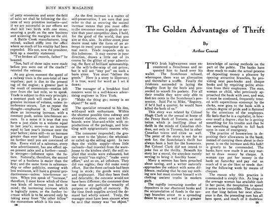Article Preview: The Golden Advantages of Thrift, May 1910   Maclean's