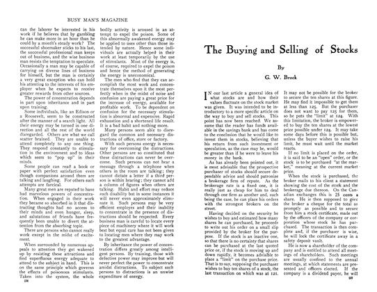 Article Preview: The Buying and Selling of Stocks, August 1910 | Maclean's