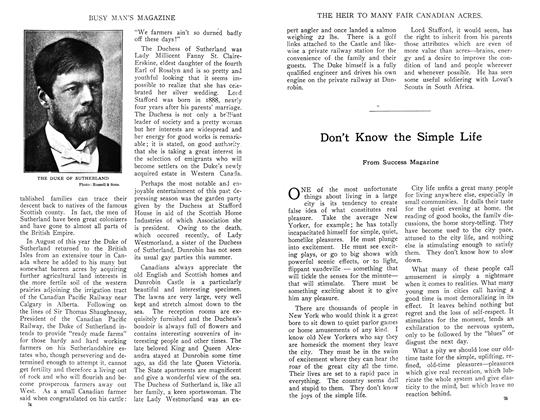 Article Preview: Don't Know the Simple Life, November 1910 | Maclean's