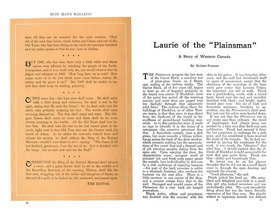 """Article Preview: Laurie of the """"Plainsman"""", January 1911 