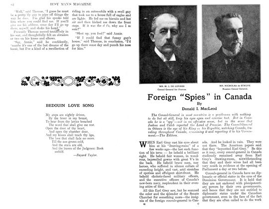 """Article Preview: Foreign """"Spies"""" in Canada, February 1911 