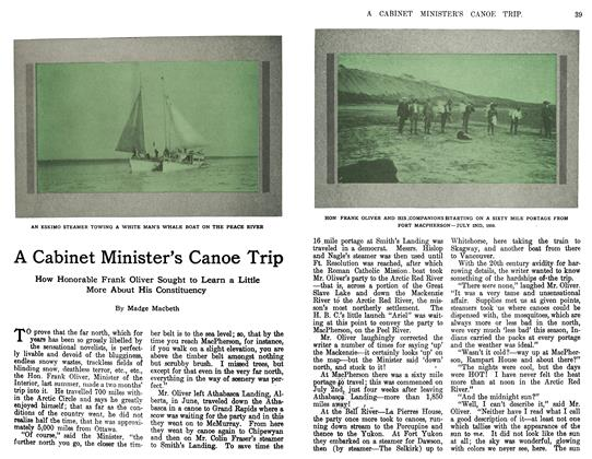 Article Preview: A Cabinet Minister's Canoe Trip, April 1911 | Maclean's