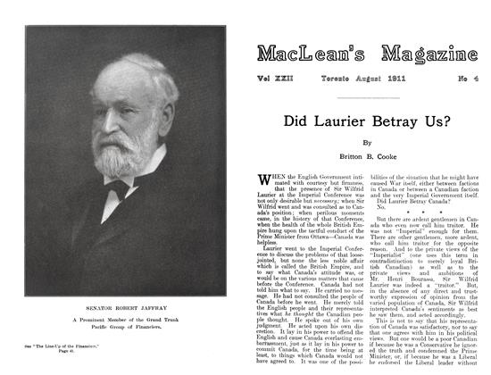 Article Preview: Did Laurier Betray Us?, August 1911 | Maclean's