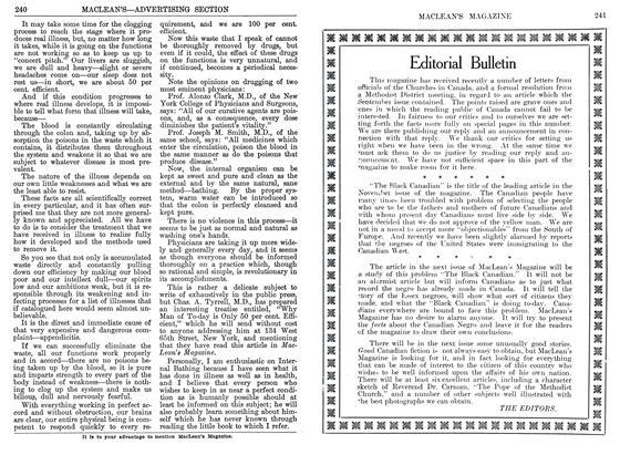 Article Preview: Editorial Bulletin, September 1911 | Maclean's