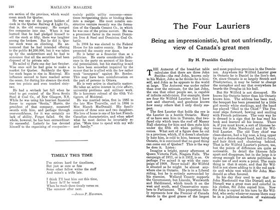 Article Preview: The Four Lauriers, September 1911 | Maclean's