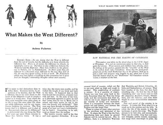 Article Preview: What Makes the West Different?, November 1911 | Maclean's