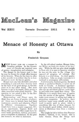 Article Preview: Menace of Honesty at Ottawa, December 1911 | Maclean's