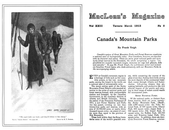 Article Preview: Canada's Mountain Parks, March 1912 | Maclean's
