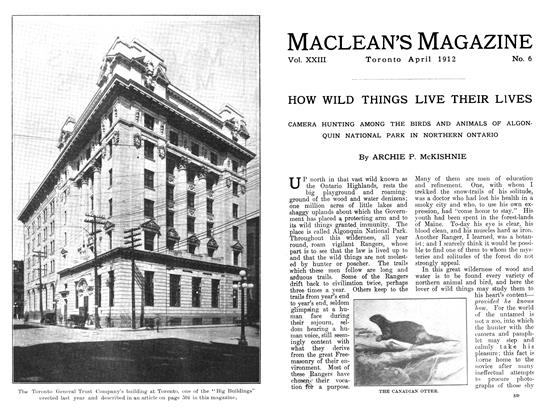 Article Preview: HOW WILD THINGS LIVE THEIR LIVES, April 1912 | Maclean's