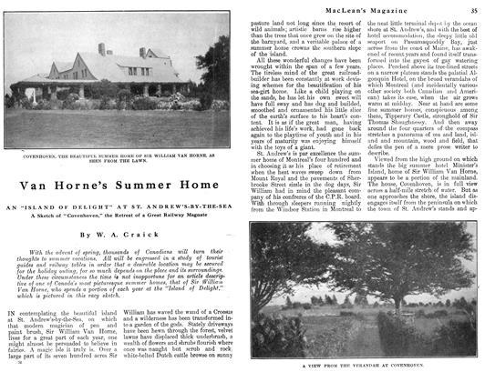 Article Preview: Van Horne's Summer Home, May 1912 | Maclean's