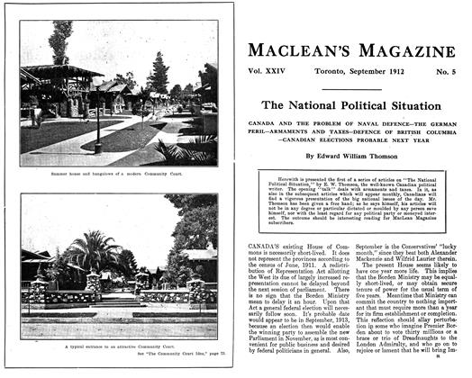 Article Preview: The National Political Situation, September 1912 | Maclean's