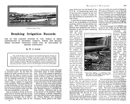 Article Preview: Breaking Irrigation Records, September 1912 | Maclean's