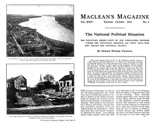 Article Preview: The National Political Situation, October 1912 | Maclean's