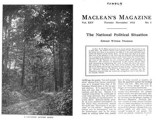 Article Preview: The National Political Situation, November 1912 | Maclean's