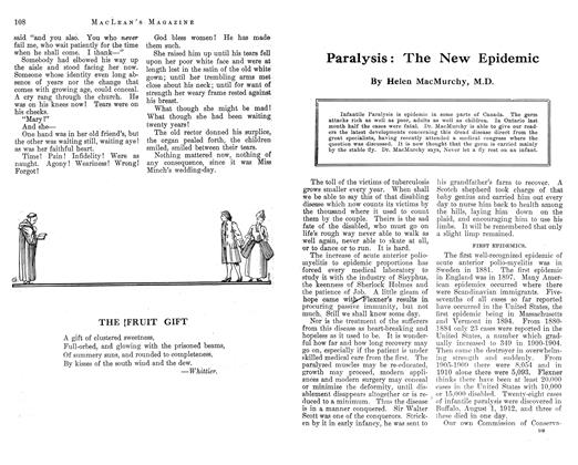 Article Preview: Paralysis: The New Epidemic, November 1912 | Maclean's