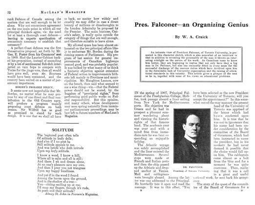Article Preview: Pres. Falconer—an Organizing Genius, November 1912 | Maclean's