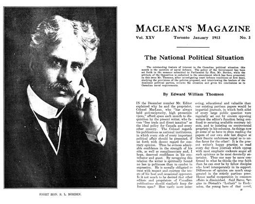 Article Preview: The National Political Situation, January 1913 | Maclean's