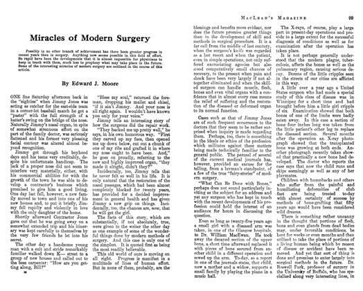 Article Preview: Miracles of Modern Surgery, January 1913 | Maclean's