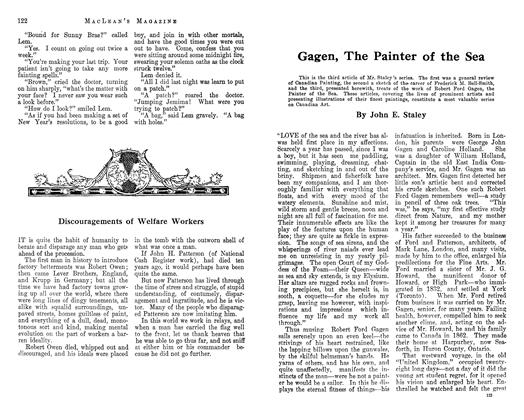 Article Preview: Gagen, The Painter of the Sea, January 1913 | Maclean's