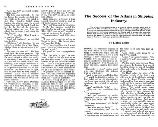 Article Preview: The Success of the Allans in Shipping Industry, February 1913 | Maclean's