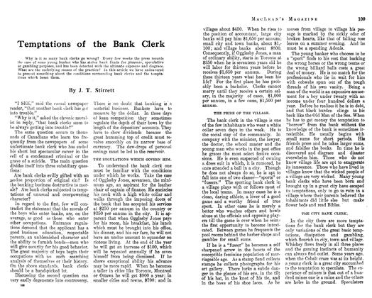 Article Preview: Temptations of the Bank Clerk, February 1913 | Maclean's