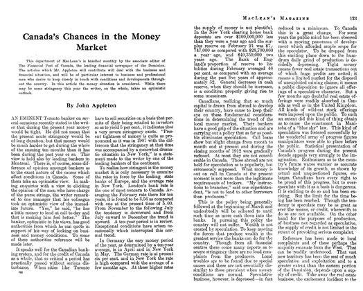 Article Preview: Canada's Chances in the Money Market, April 1913 | Maclean's