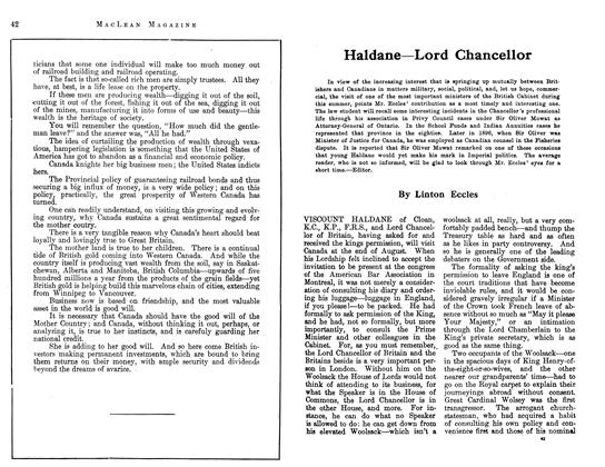 Article Preview: Haldane—Lord Chancellor, July 1913 | Maclean's