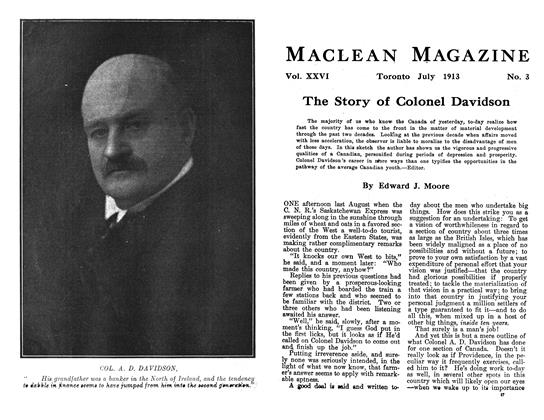 Article Preview: The Story of Colonel Davidson, July 1913 | Maclean's